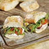 Mini Sandwiches with Mozzarella, Cherry Tomatoes and Grapes